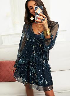 Print Shiftklänningar Långa ärmar Mini Fritids Modeklänningar