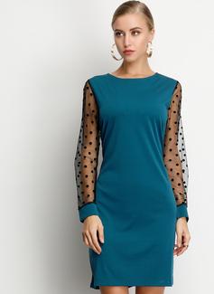 Over Knee rund hals Polyester Polka prik/Solid Lange ærmer Mode kjoler