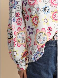 Wydrukować Długie rękawy Bawełna Litera V Bluzki
