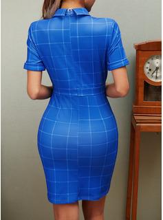 Plaid Bodycon Short Sleeves Mini Casual Elegant Dresses