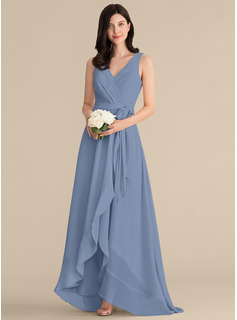 A-Line V-neck Asymmetrical Chiffon Prom Dresses With Ruffle Bow(s)