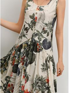 Algodón/Lino con Botones/Impresión Maxi Vestido