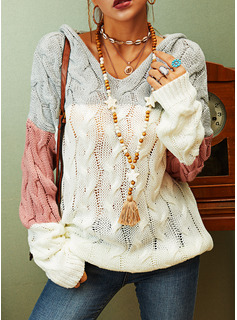 Hooded Casual Color Block Cable-knit Chunky knit Sweaters