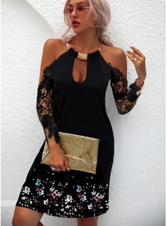 Floral Lace Print Shift 1/2 Sleeves Mini Casual Vacation Dresses