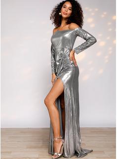 Solido A trapezio Maniche lunghe Maxi Partito Elegante Vestiti di moda