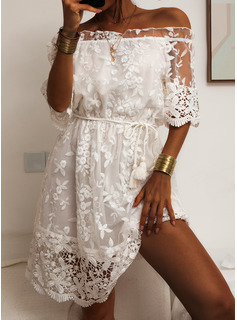Lace Solid Sheath 1/2 Sleeves Mini Casual Dresses