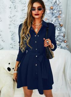 Solid A-linjeklänning Långa ärmar Mini Den lilla svarta Fritids Elegant Skjortklänningar skater Modeklänningar
