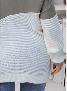 Stand krage Fritids Color Block Print Tröjor