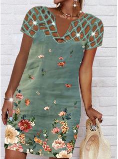 Blumen Druck Etuikleider Kurze Ärmel Midi Lässige Kleidung Urlaub Tunika Modekleider