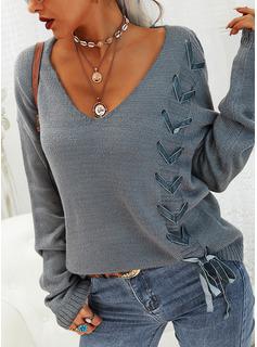 Vネック カジュアル 固体 セーター