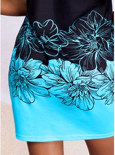 Floral Impresión Cubierta Manga Corta Mini Casual Vestidos de moda