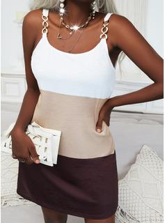 Color Block Shift Sleeveless Mini Casual Dresses