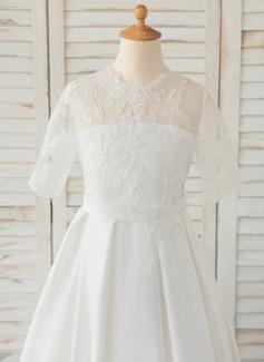 Aライン マキシレングス フラワーガールのドレス - サテン/レース 1/2 袖 スクープネック