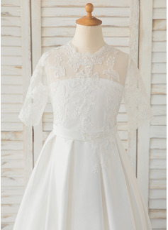 A-Line Floor-length Flower Girl Dress - Satin/Lace 1/2 Sleeves Scoop Neck