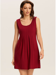 knælange rund hals Polyester Solid Uden Ærmer Mode kjoler