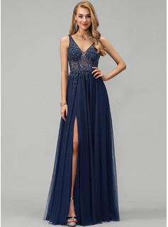 A-Line V-neck Floor-Length Tulle Prom Dresses With Beading Sequins Split Front