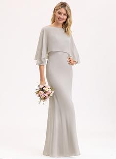 Sheath/Column Square Neckline Floor-Length Chiffon Bridesmaid Dress