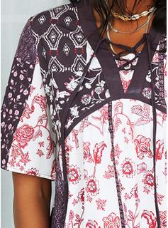 Floral Patchwork Impresión Cordones Vestidos sueltos Mangas 1/2 Manga Acampanada Mini Casual Túnica Vestidos de moda