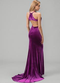 Trumpet/Mermaid Scoop Neck Sweep Train Velvet Prom Dresses