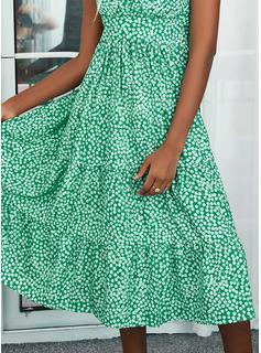 Impresión Escotado por detrás Vestido línea A Sin mangas Midi Casual Vacaciones Patinador Tipo Vestidos de moda