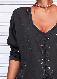 Impresión Cuello en V Manga Larga Casual Blusas