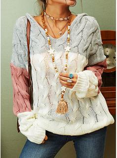 Glugă gündelik Renkli klişe Tricot Cablu Bucată tricotată Kazak