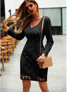 Print Åtsittande Långa ärmar Mini Den lilla svarta Elegant Modeklänningar