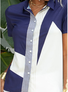 Color Block Short Sleeves Polyester Lapel Shirt Blouses Blouses