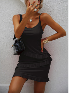 Solid Sheath Sleeveless Mini Little Black Casual Vacation Type Dresses