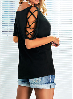 Solid Heart Cold Shoulder Short Sleeves Sexy Blouses