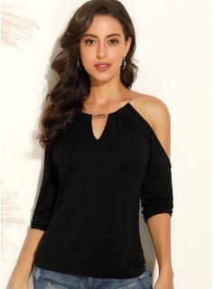 Solid 3/4 Sleeves Polyester Cold Shoulder Blouses