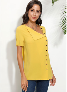 Solid Korte ærmer Polyester Lapel Shirt Skjorter Bluser