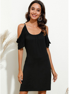 Above Knee Round Neck Polyester Solid Short Sleeves/Cold Shoulder Sleeve Fashion Dresses