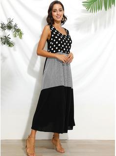Maksimum rund hals Polyester/Bomuld Print/Polka prik Uden Ærmer Mode kjoler