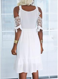 Sólido Vestido línea A Mangas 1/2 Midi Elegante Patinador Vestidos de moda