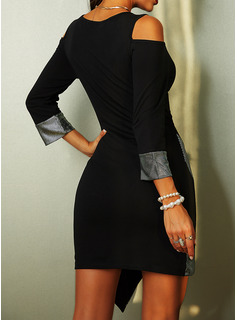 Sequins Sheath 3/4 Sleeves Cold Shoulder Sleeve Mini Elegant Dresses