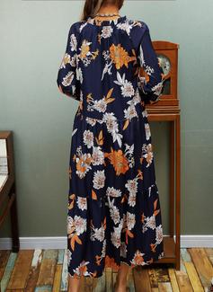 Print Shift Long Sleeves Midi Casual Dresses