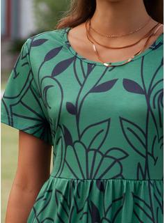 Imprimeu Shift Elbiseleri Mâneci Scurte Midi gündelik Tişört Moda Elbiseler