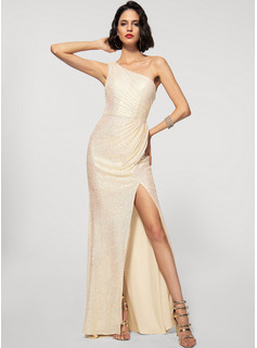 Sheath/Column One-Shoulder Sweep Train Sequined Evening Dress With Split Front