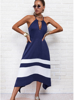 Color Block Striped A-line Sleeveless Asymmetrical Casual Skater Type Dresses