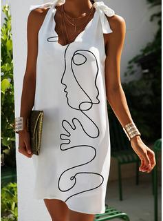 Print Shiftklänningar Ärmlös Mini Fritids Semester Tank Modeklänningar