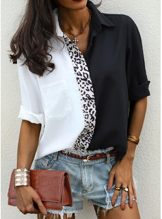 Leopard Patchwork Lapel Long Sleeves Button Up Casual Shirt Blouses