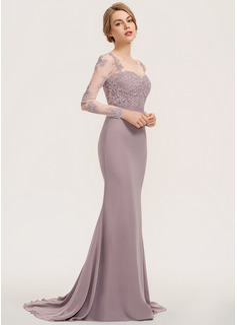 Trumpet/Mermaid Scoop Neck Sweep Train Chiffon Lace Bridesmaid Dress