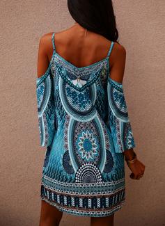 Print Shift Cold Shoulder Sleeve Long Sleeves Mini Casual Vacation Tunic Dresses