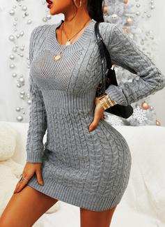 Rundhalsausschnitt Lässige Kleidung Lange Einfarbig Zopfmuster Pullover
