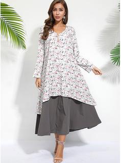 Midi Litera V Poliester Przycisk/Wydrukować Długie rękawy Modne Suknie