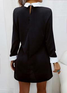 Color Block Shift Long Sleeves Mini Elegant Tunic Dresses