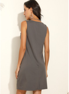 Over Knee V-hals Polyester Print Uden Ærmer Mode kjoler