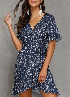A-line V-Neck Polyester Dresses