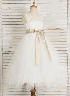 A-Line/Princess Tea-length Flower Girl Dress - Satin/Tulle/Lace Sleeveless Scoop Neck With Sash/Bow(s)/Back Hole